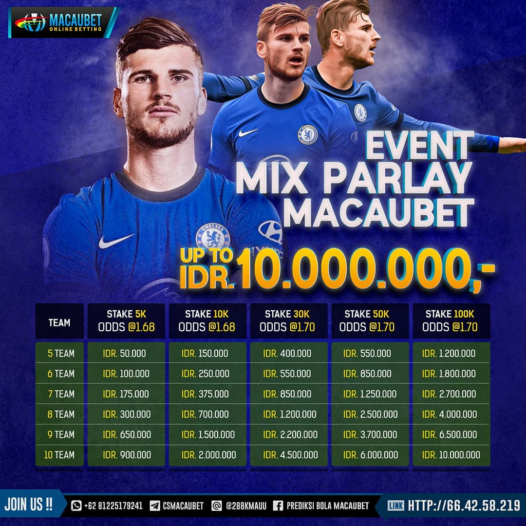 Event MIX PARLAY  Total Hadiah Up to IDR. 10.000.000 – MACAUBET